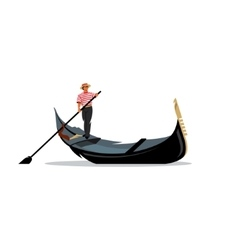 Venice gondola gondolier rowing oar sign vector