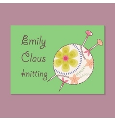 Vintage business card for knitting vector image