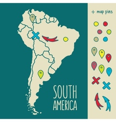 Vintage hand drawn south america travel map vector