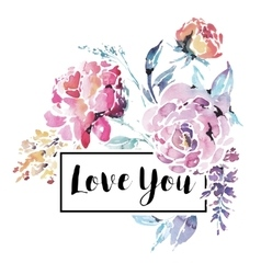 watercolor floral bouquet red roses vector image