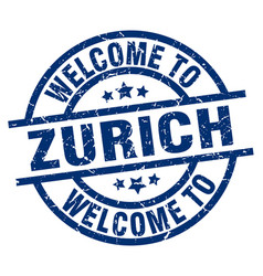 Welcome to zurich blue stamp vector