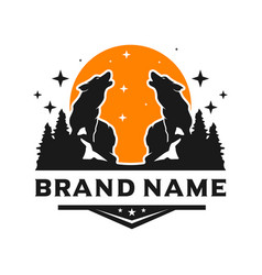 wild wolf logo design template vector image