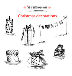 winter holiday set merry christmas decoration vector image