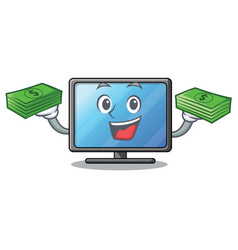 with money bag lcd tv in shape of mascot vector image
