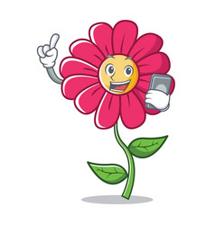 With phone pink flower character cartoon vector