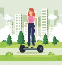Woman riding electric scooter in the urban park vector