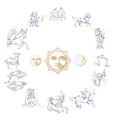 Zodiac constellations with drawn astrological vector