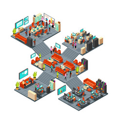 isometric business offices with staff 3d vector image vector image