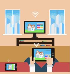 Management house through modern technology vector image