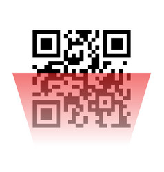 Qr code sample with red laser scanner vector