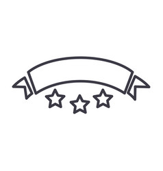 ribbon with stars line icon sign vector image vector image