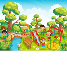 Children playing with toys on the playground in th vector image
