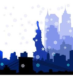 Christmas New York silhouettes vector image