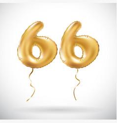 golden number 66 sixty six metallic balloon party vector image