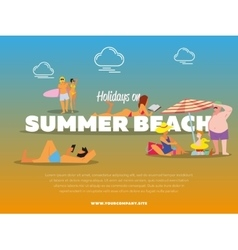 Holidays on summer beach banner vector image vector image