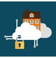 home security cloud technology lock vector image