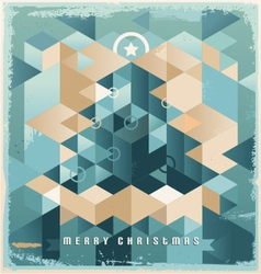 Christmas tree retro background design vector image