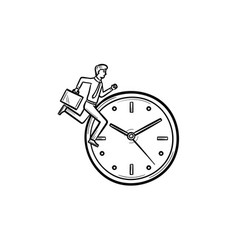 clock running hand drawn sketch icon vector image vector image