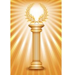 Column laurel gold vector image vector image