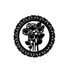 decorative emblem with oval roses inside icon vector image vector image