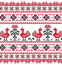 Ukrainian slavic folk knitted emboidery pattern vector