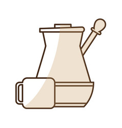 brown silhouette shading jar of coffee with handle vector image