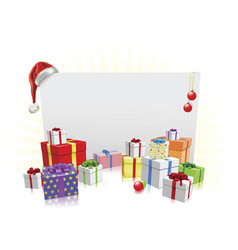 christmas presents and sign concept vector image vector image