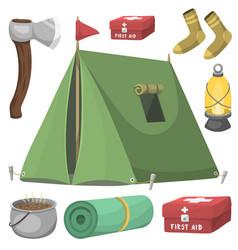 hiking camping equipment base camp gear and vector image vector image