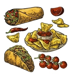 Mexican traditional food set with text message vector image vector image
