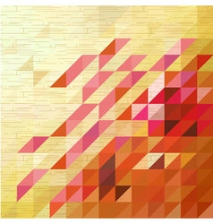 Pink triangle on wooden texture background vector image vector image
