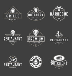 restaurant logos templates objects set vector image vector image