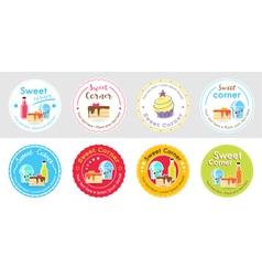 Set of cute sweet bakery badge label vector image