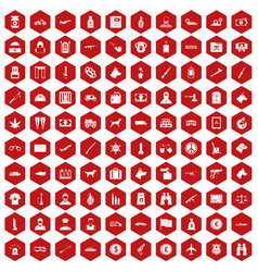 100 smuggling icons hexagon red vector