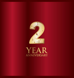 2 year anniversary gold with red background vector