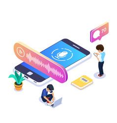 3d isometric voice message concept people listen vector
