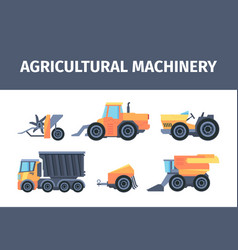 agricultural machines and mechanisms set powerful vector image