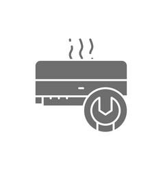 Air conditioner repair broken conditioner grey vector
