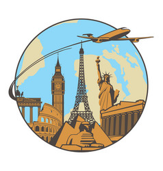Banner with plane landmarks and planet earth vector