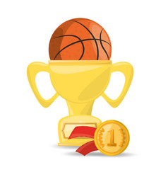basketbal trophy and win the competition game vector image
