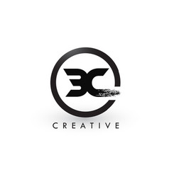 Bc brush letter logo design creative brushed vector