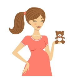 Beautiful mom to be holding teddy bear vector image