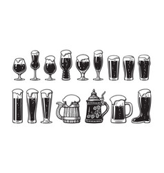 Beer glassware set various types beer glasses vector