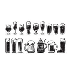 Beer glassware set various types glasses vector