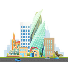 big city with skyscrapers and small houses vector image