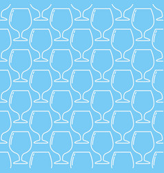 Blue seamless cognac glass pattern vector