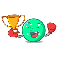 boxing winner circle mascot cartoon style vector image