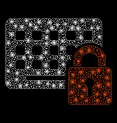 Bright mesh 2d keypad locked with light spots vector