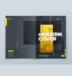 Brochure template layout design yellow grey vector