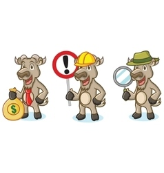 Burly Wood Goat Mascot with money vector image