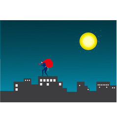Business man steal asset on city midnight backgrou vector